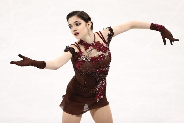 """Medvedeva, of Russia, wore this beautiful costume (which is <a href=""""https://www.vogue.com/fashion-shows/fall-2008-ready-to-w"""