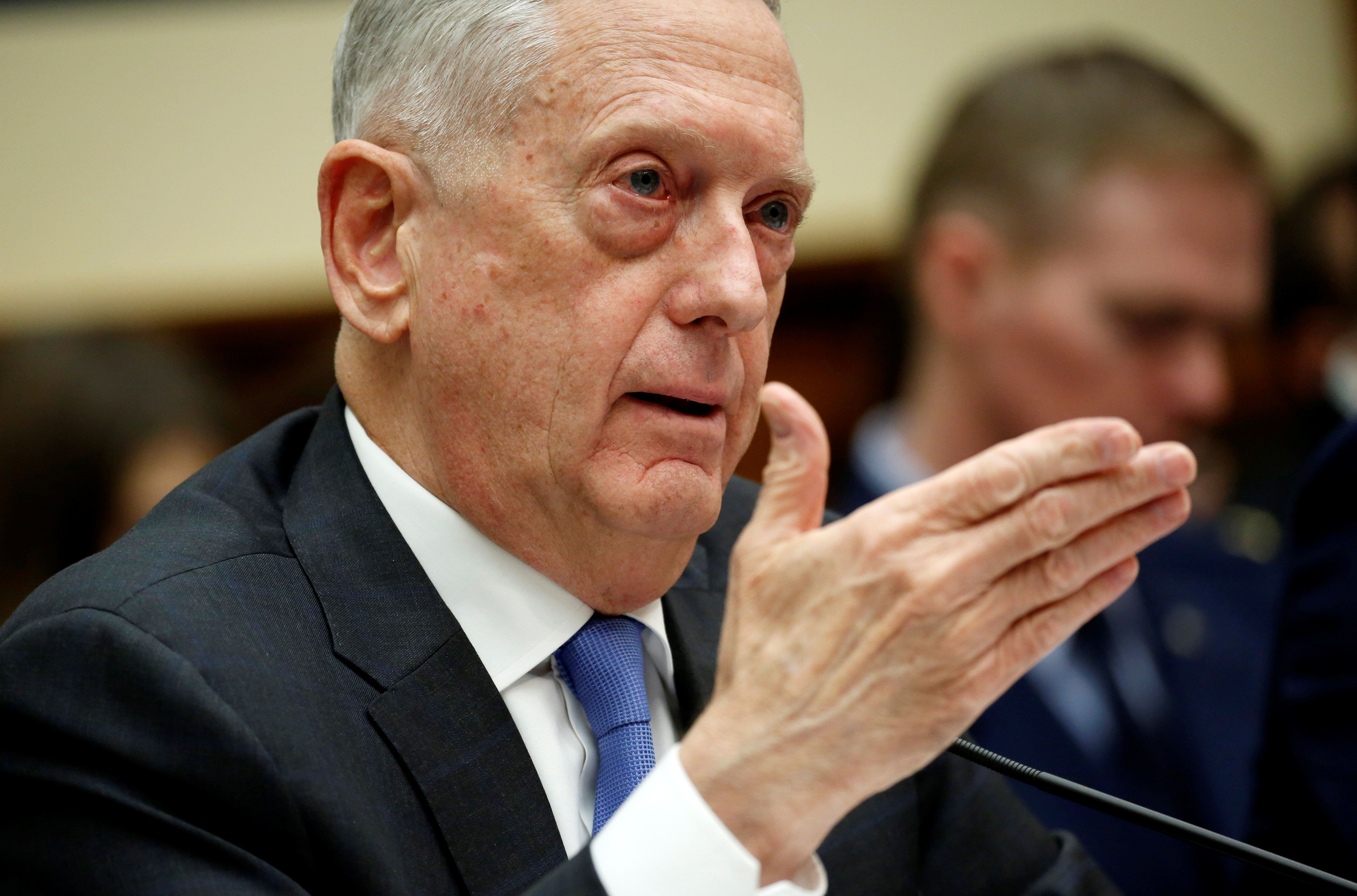 "U.S. Defense Secretary Jim Mattis testifies to the House Armed Services Committee on ""The National Defense Strategy and the Nuclear Posture Review"" on Capitol Hill in Washington, U.S., February 6, 2018. REUTERS/Joshua Roberts"