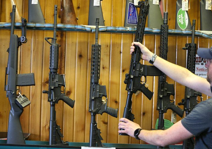 Semi-automatic AR-15 assault weapons for sale at a Utah shooting range and gun shop. An AR-15 was used in the fatal Parkland, Florida, school shooting on Feb. 14.