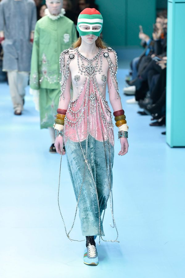 """This look from Gucci seems pretty unwearable for everyone, except maybe Rihanna (who wore the <a href=""""https://www.highsnobie"""
