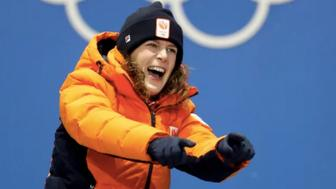 Speedskater Ireen Wust celebrates winning her gold medal