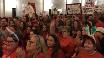 Teachers and protesters fill the West Virginia capitol during this weeks walkout
