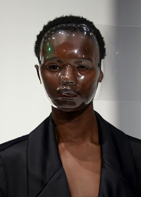 Chalayan's latest collection at London Fashion Week was actually quite conservative, but these clear masks were giving us <a