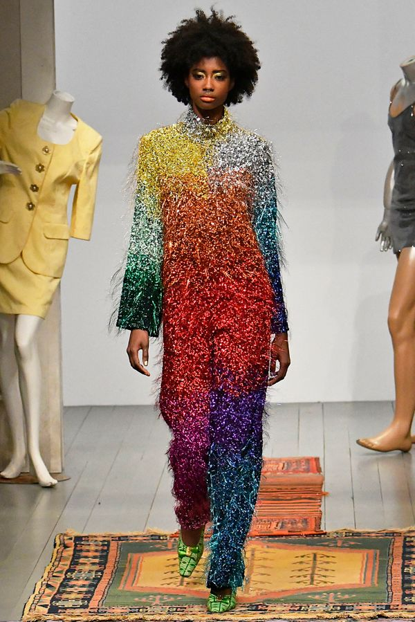 When it comes to bright, colorful, sparkly clothes, Ashish definitely delivers -- sometimes, all at once. This rainbow ensemb