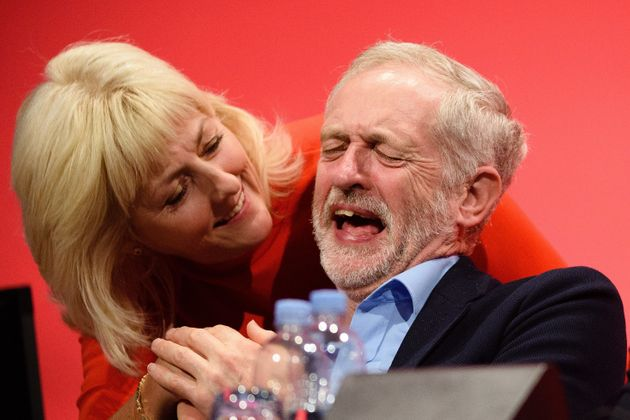 Jennie Formby jokes with Jeremy Corbyn at the 2015 Labour