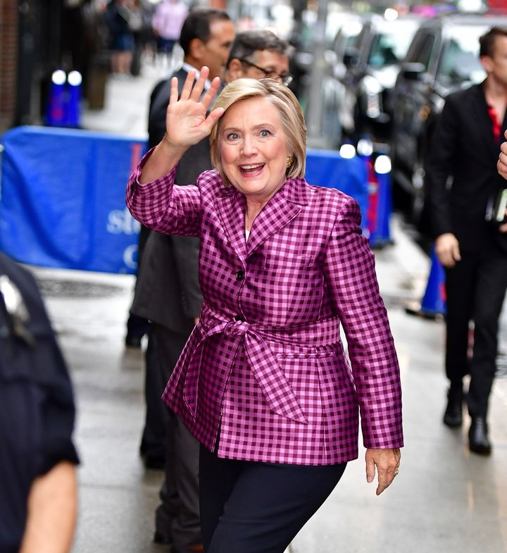 "Hillary Clinton wearing Argent for an appearance on ""The Late Show with Stephen Colbert"" in September 2017."