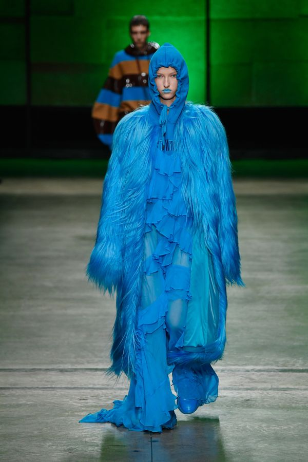 """This similarly fuzzy look by Annakiki (shown in Milan) just screams Sulley from """"Monsters, Inc."""""""