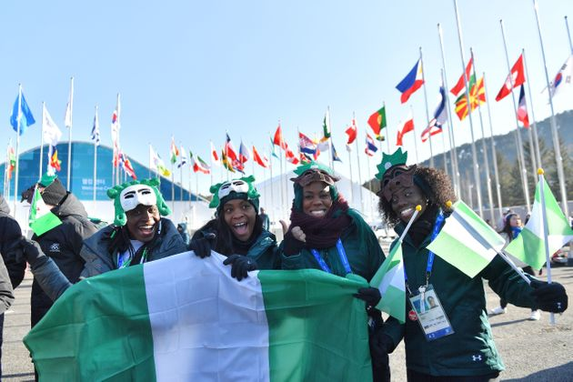 Nigeria's women's bobsleigh and skeleton team members Seun Adigun, Ngozi Onwumere, Akuoma Omeoga and...