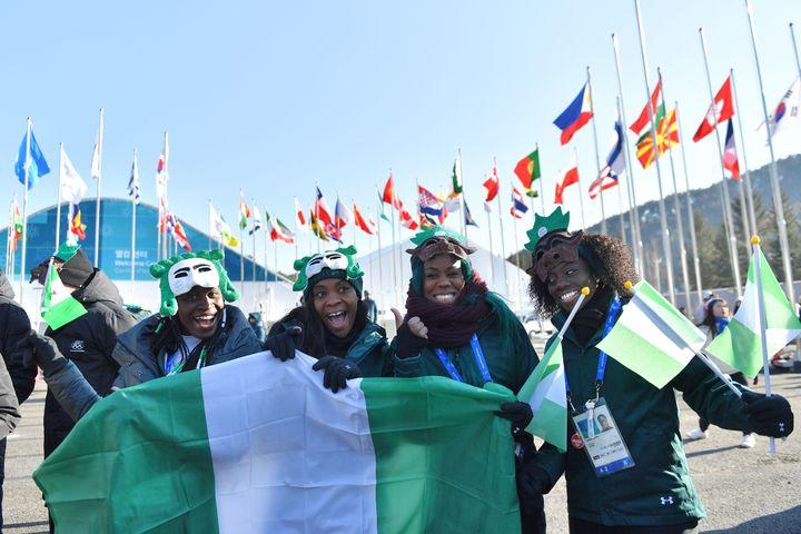 Nigeria's women's bobsleigh and skeleton team members Seun Adigun, Ngozi Onwumere, Akuoma Omeoga and Simidele Adeagbo.