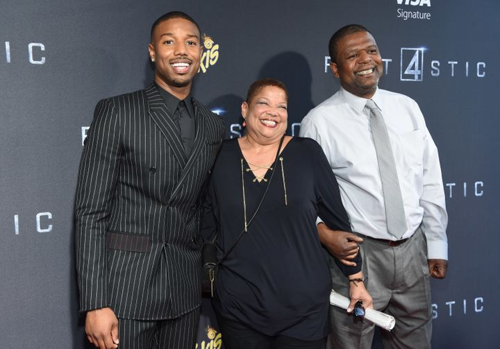 Michael B. Jordan poses with his parents Donna and Michael B. Jordan at the New York premiere of 'Fantastic Four