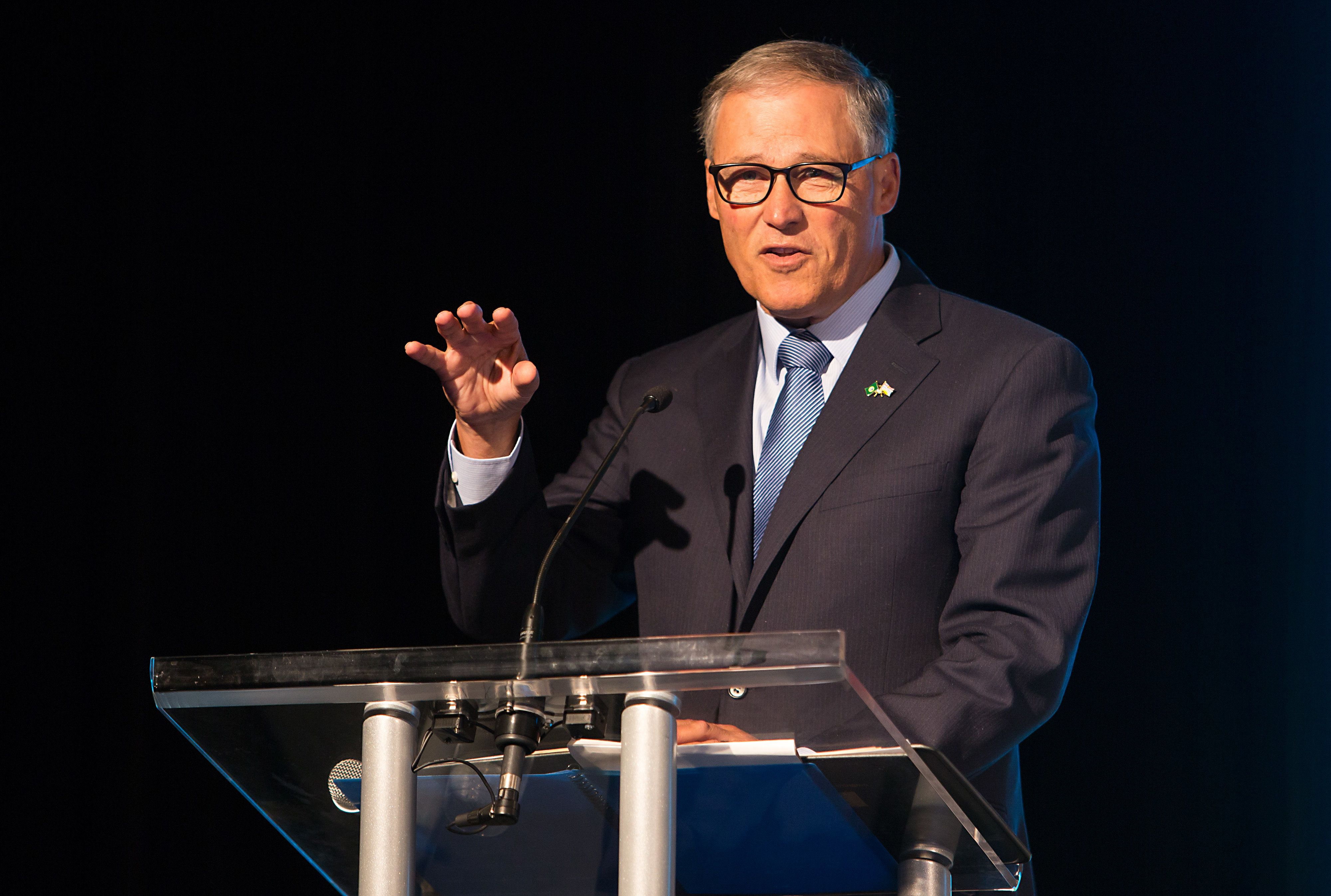 Jay Inslee, governor of Washington, speaks during the Emerging Cascadia Innovation Corridor Conference in Vancouver, British Columbia, Canada, on Tuesday, Sept. 20, 2016. The conference focused on the creation of a new global hub for innovation and economic development. Photographer: Ben Nelms/Bloomberg via Getty Images