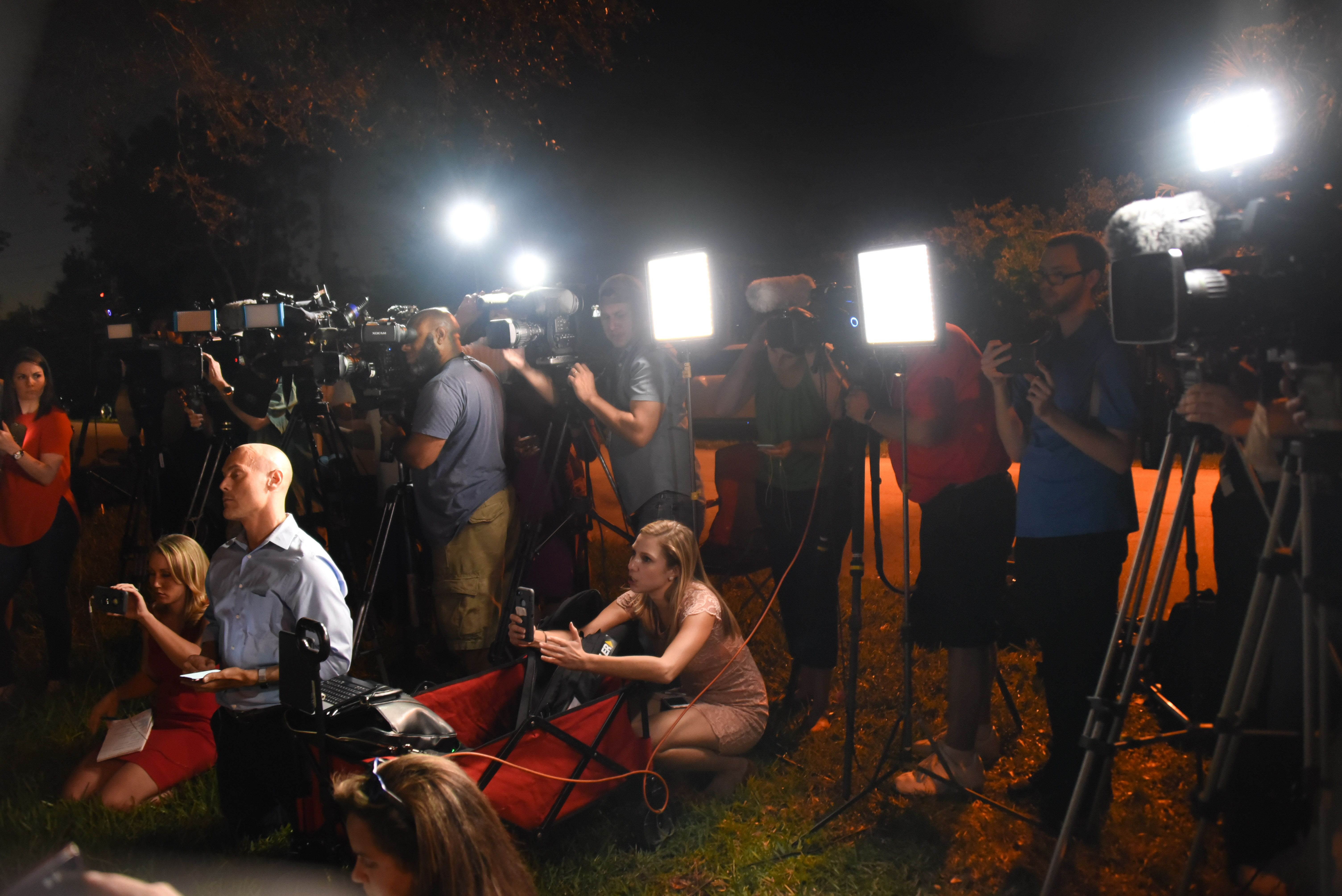 Members of the media attend a briefing at the Broward Health North Hospital, where victims of a Feb. 14 shooting at Marjory S