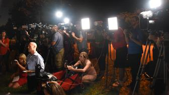 The media attends a briefing at the Broward Health North Hospital where victims of a shooting at Marjory Stoneman Douglas High School were treated, Febreuary 14, 2018 in Parkland, Florida.  A former student armed with an AR-15 rifle opened fire at a Florida high school, killing at least 17 people, officials said, in a harrowing shooting spree that saw terrified students hiding in closets and under desks as they texted for help. Broward County Sheriff Scott Israel identified the gunman as Nikolas Cruz, 19, a former student at Marjory Stoneman Douglas High School in Parkland who had been expelled for 'disciplinary reasons.'  / AFP PHOTO / Michele Eve SANDBERG        (Photo credit should read MICHELE EVE SANDBERG/AFP/Getty Images)