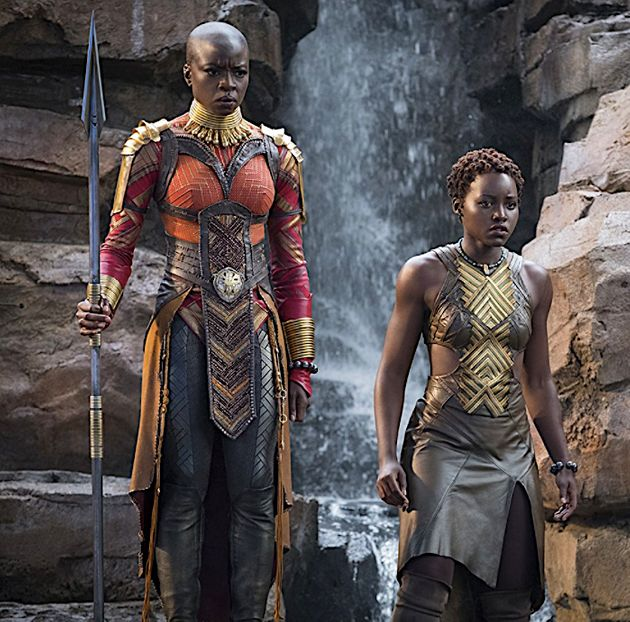 Some of the island inspiration can be see on Okoye, Danai Gurira's character on the
