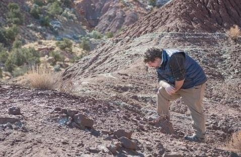 Paleontologist Rob Gay checks out a fossil site at Bears Ears.