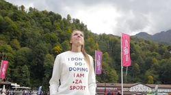 '나는 도핑을 하지 않는다' 티셔츠 입은 러시아 선수의