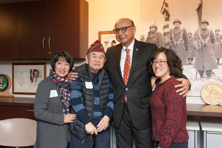 Khizr Khan visits with members of the Japanese-American community in Seattle on Feb. 19, 2018.