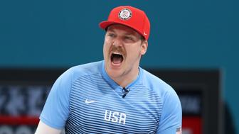 GANGNEUNG, SOUTH KOREA - FEBRUARY 24:  Matt Hamilton of the United States reacts during the game against Sweden during the Curling Men's Gold Medal game on day fifteen of the PyeongChang 2018 Winter Olympic Games at Gangneung Curling Centre on February 24, 2018 in Gangneung, South Korea.  (Photo by Richard Heathcote/Getty Images)