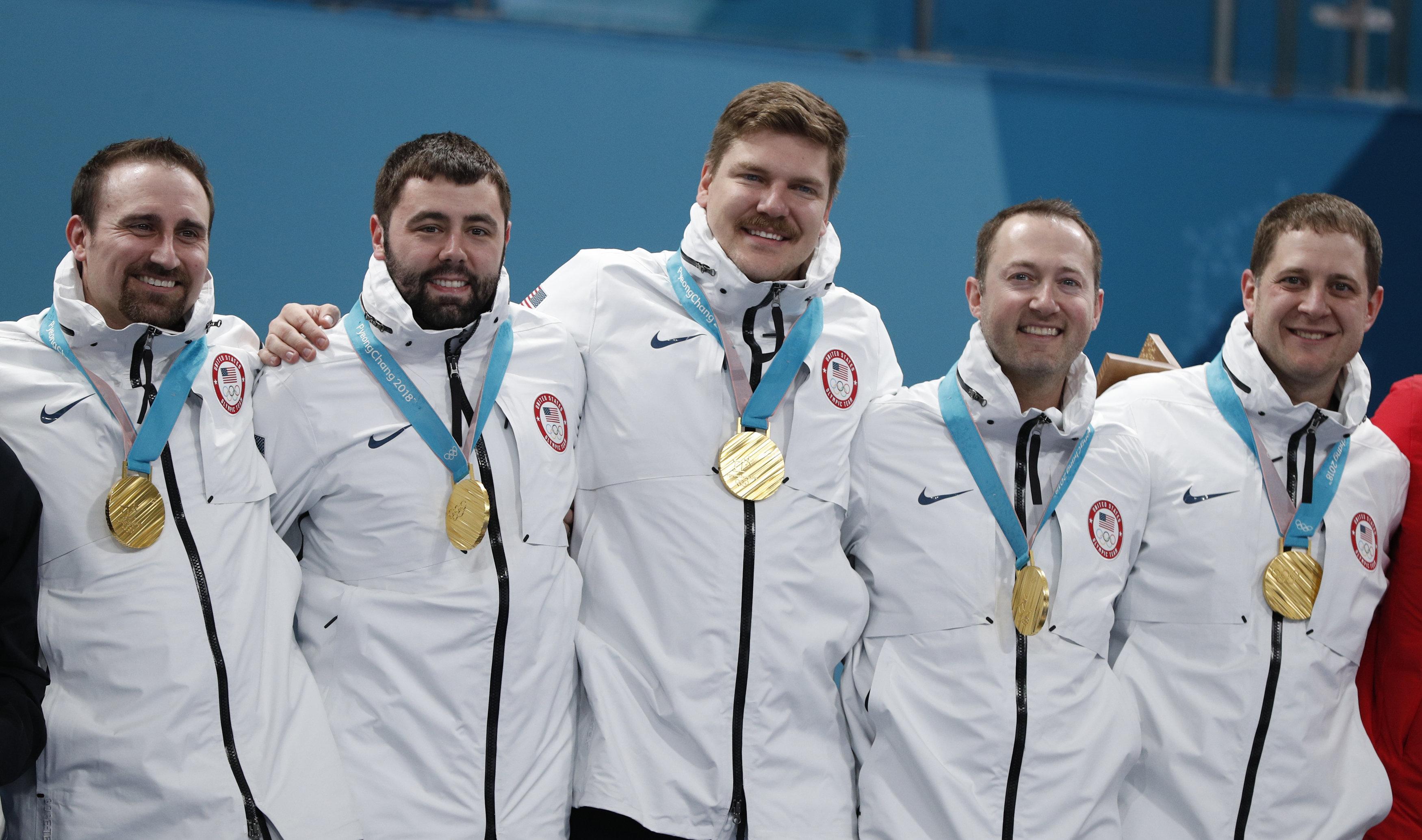 Joe Polo, John Landsteiner, Matt Hamilton, Tyler George and skip John Shuster won gold for Team USA in the men's curling even
