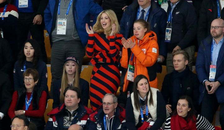Ivanka Trump attends the Ladies' and Men's Mass Start Speed Skating event at the PyeongChang Winter Olympics on Feb. 24.