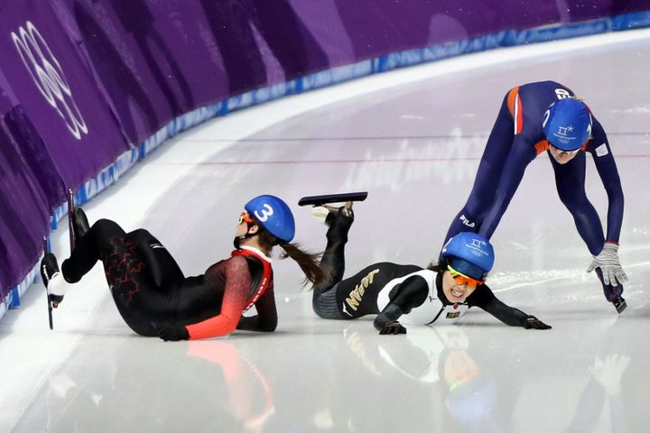 In Semifinal 2 for Ladies' Speed Skating on Feb. 24, Canada's Ivanie Blondin, Japan's Ayano Sato and the Netherlands' Annouk