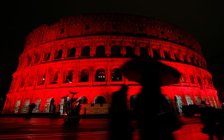 The Colosseum is lit up in red to draw attention to the persecution of Christians around the world in Rome, Italy, February 2