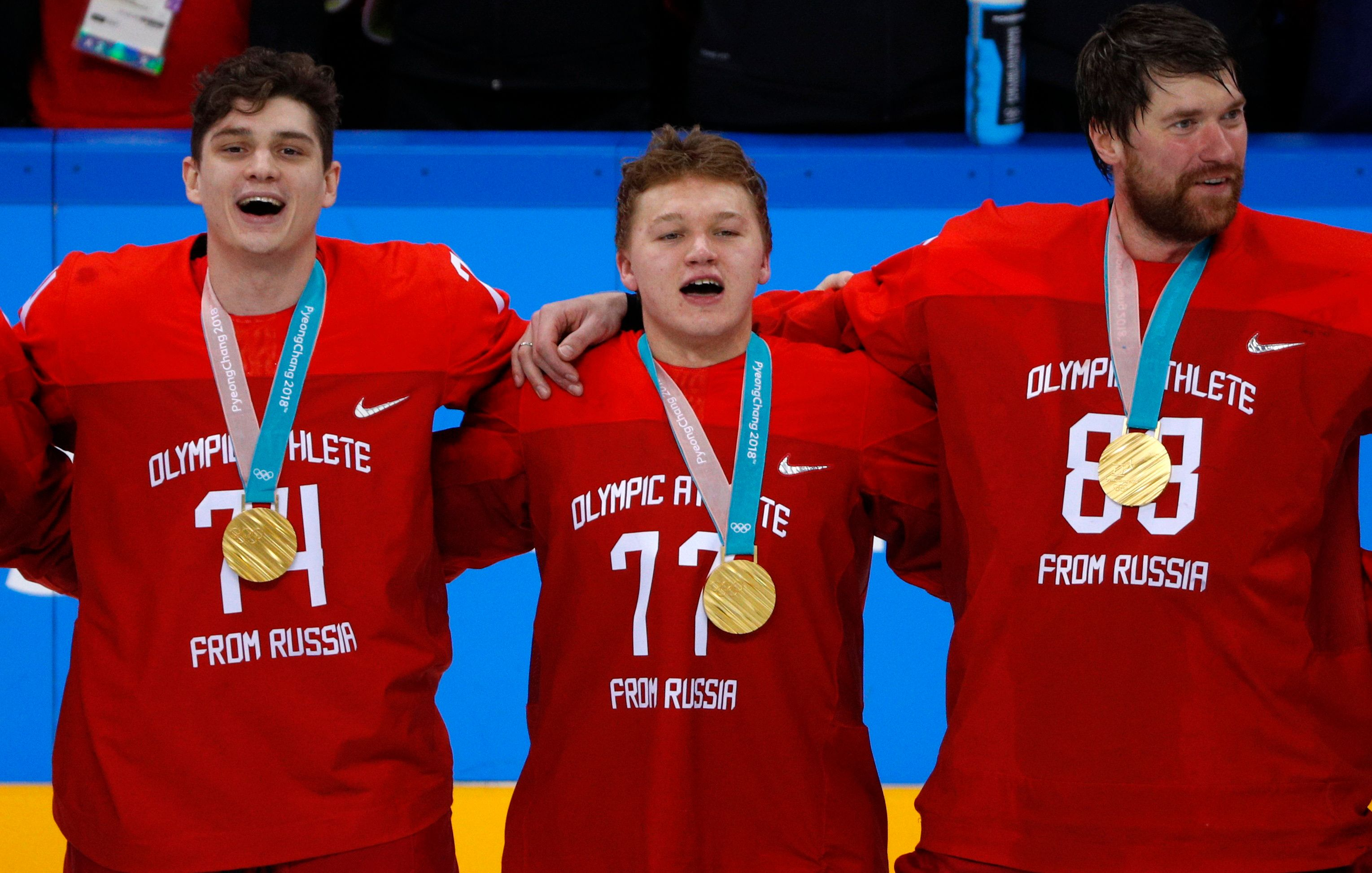 Russian Hockey Players Sing Banned Anthem At Olympic Medal Ceremony