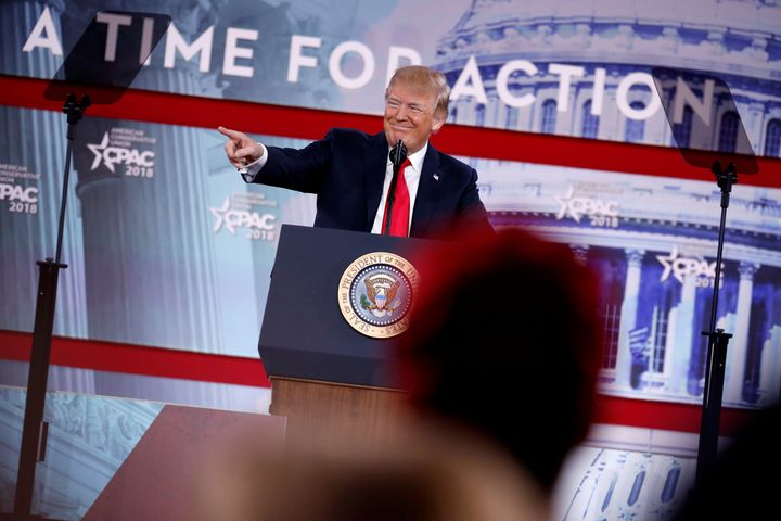 President Donald Trump spoke at the Conservative Political Action Conference (CPAC) at National Harbor, Maryland, on Fri