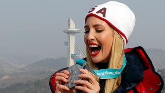 Bobsleigh - Pyeongchang 2018 Winter Olympics - Olympic Sliding Centre - Pyeongchang, South Korea - February 25, 2018 - President Donald Trump's daughter and senior White House adviser, Ivanka Trump reacts as she looks at the silver medal of Lauren Gibbs of the U.S. REUTERS/Eric Gaillard