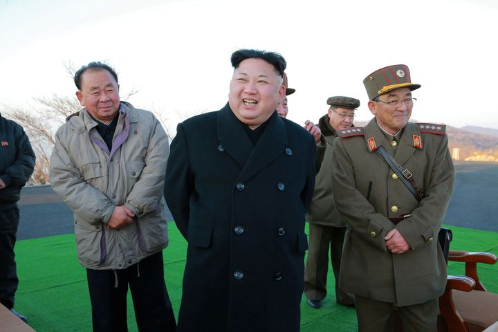 North Korean leader Kim Jong Un supervised a ballistic rocket launching drill of Hwasong artillery units of the Strategic For