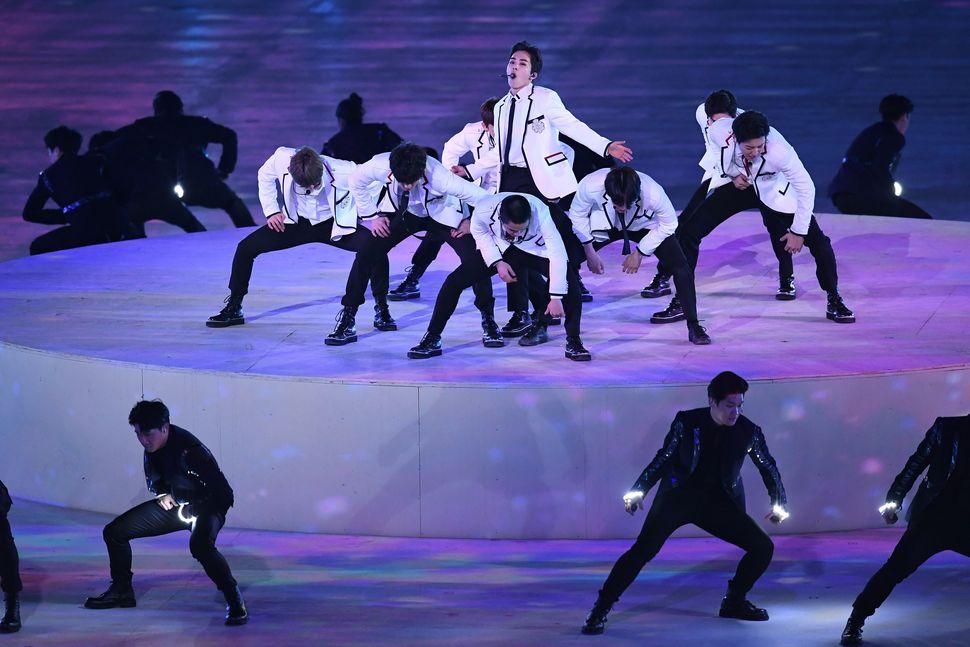 Boy band EXO performs.
