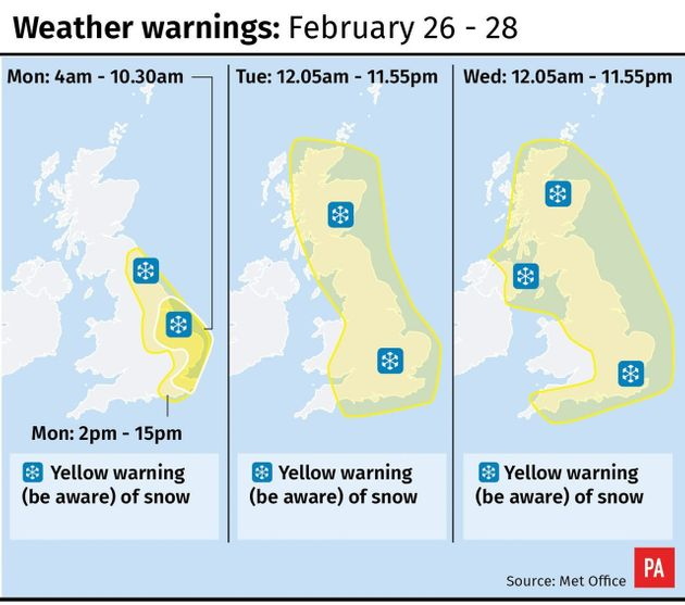 The Met Office has issued a yellow warning for