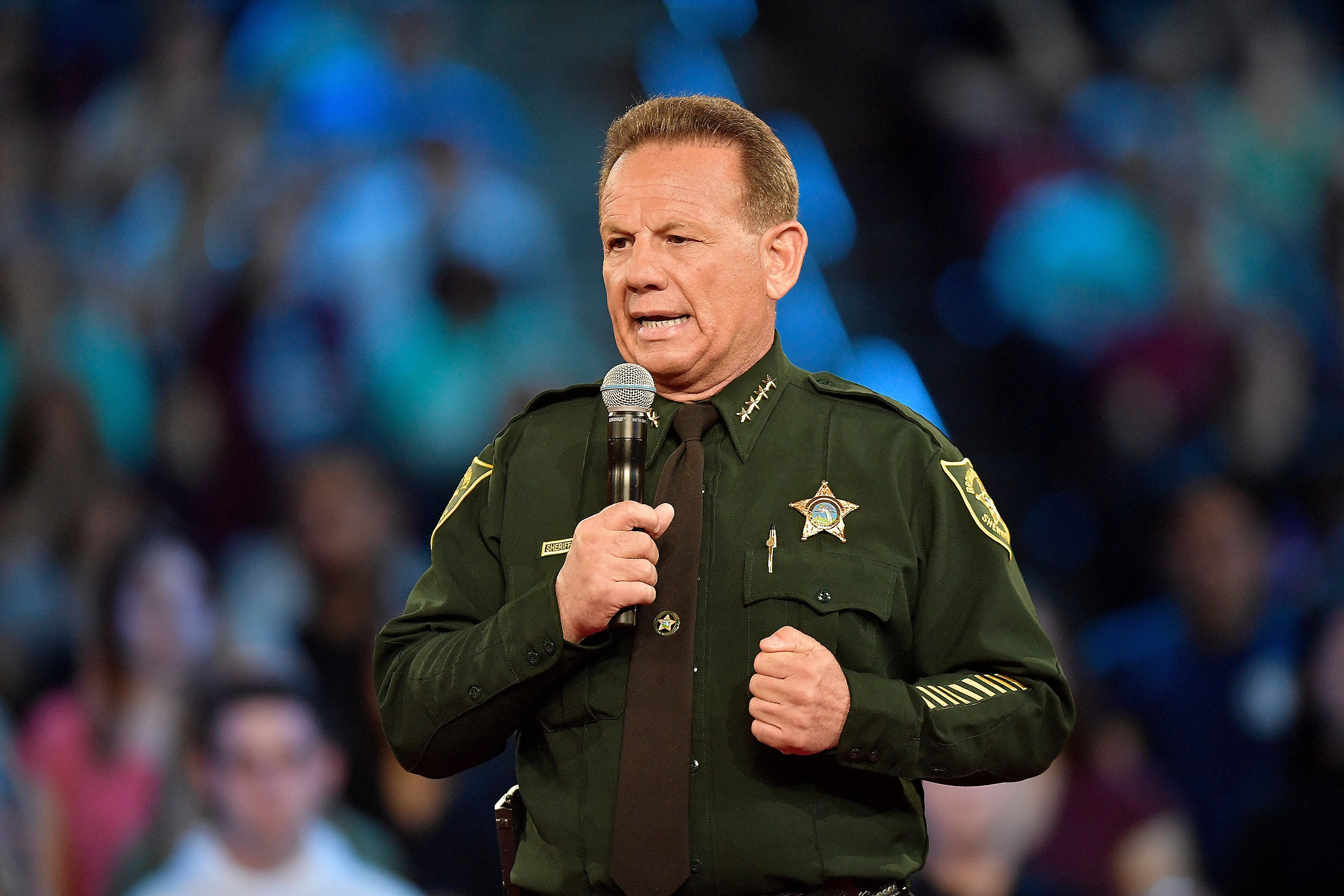 Broward County Sheriff Scott Israel speaks before the start of a CNN town hall meeting on Wednesday, Feb. 21, 2018, at the BB&T Center, in Sunrise, Fla. (Michael Laughlin/Sun Sentinel/TNS via Getty Images)