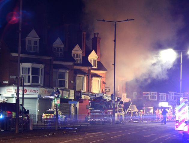 The scene on Hinckley Road in Leicester, after a 'major incident' was declared by
