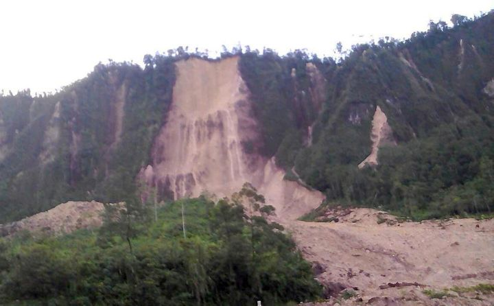 A road near the township of Tabubil was damaged in a landslide that was sparked by a strong earthquake on Feb. 26, 2018.