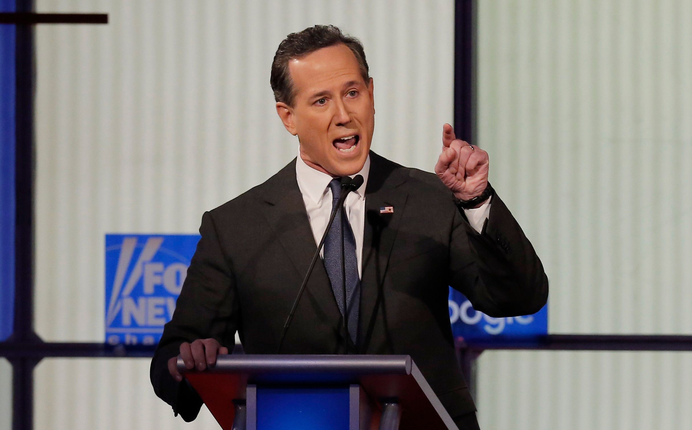 Republican U.S. presidential candidate and former U.S. Senator Rick Santorum speaks during a forum for the lower polling candidates held by Fox News before the U.S. Republican presidential candidates debate in Des Moines, Iowa January 28, 2016. REUTERS/Jim Young