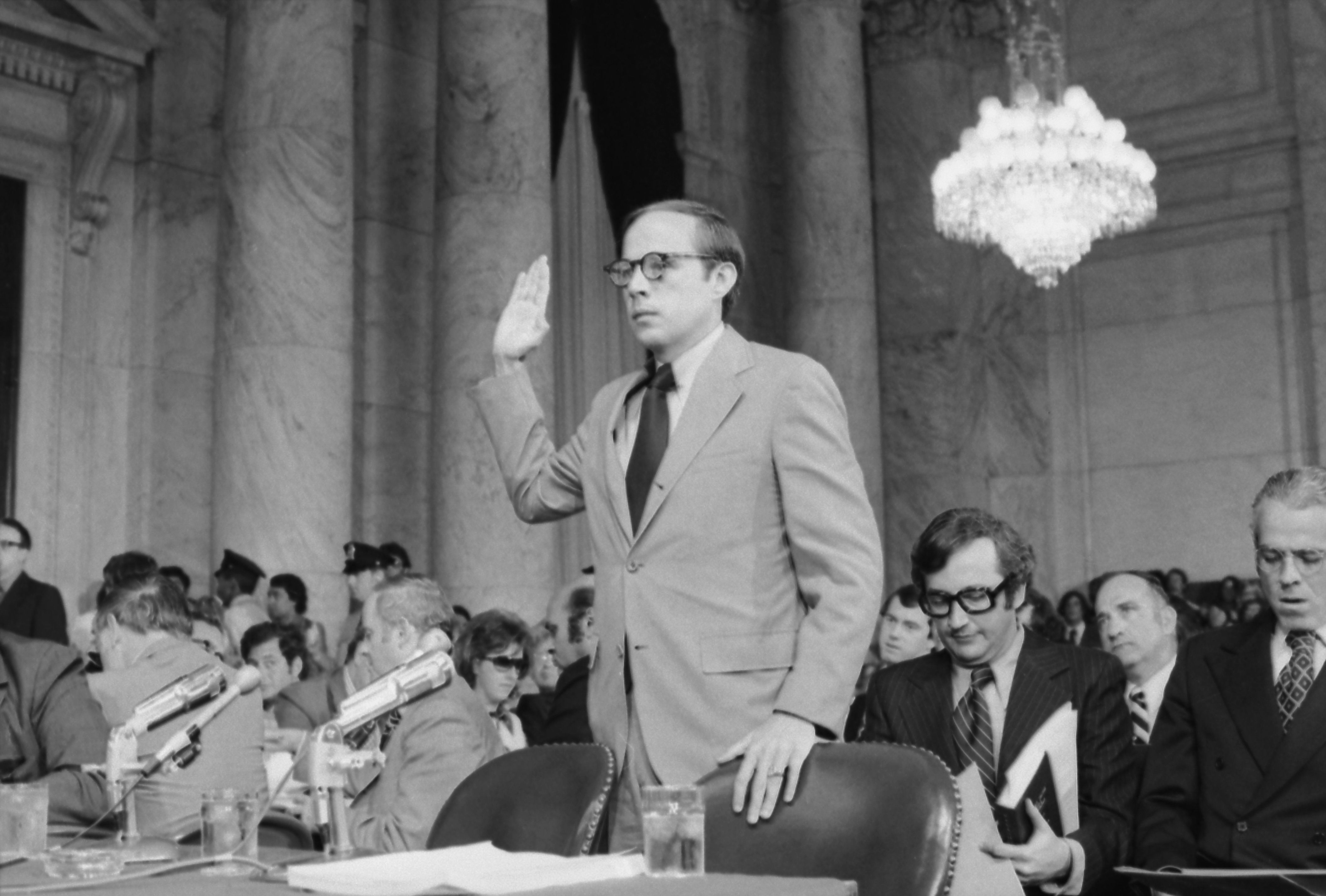 John Dean testifying during the Watergate investigation in