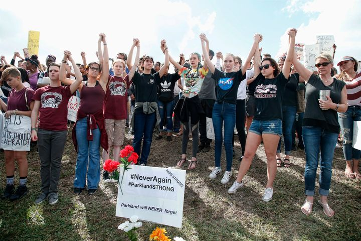 High school students participate in a county-wide walk out in Parkland, Florida, last week following the Feb. 14 school shoot