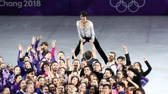 GANGNEUNG, SOUTH KOREA - FEBRUARY 25, 2018: Figure skater Yuzuru Hanyu of Japan (top) during a figure skating exhibition gala at the 2018 Winter Olympic Games at Gangneung Ice Arena. Valery Sharifulin/TASS (Photo by Valery Sharifulin\TASS via Getty Images)