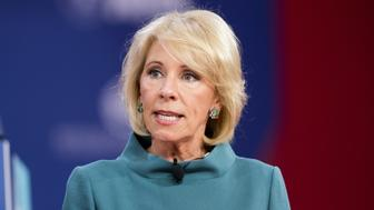 OXON HILL, MD, UNITED STATES - 2018/02/22: Betsy DeVos, United States Secretary of Education, at the Conservative Political Action Conference (CPAC) sponsored by the American Conservative Union held at the Gaylord National Resort & Convention Center in Oxon Hill. (Photo by Michael Brochstein/SOPA Images/LightRocket via Getty Images)