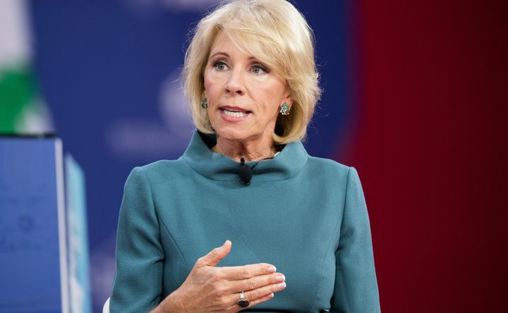 Education Secretary Betsy DeVos speaks at the Conservative Political Action Conference on Feb. 22, 2018.
