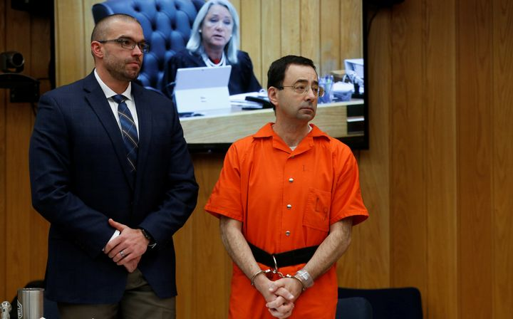 Nassar with his lawyer during his second sentencing hearing on Jan. 31, 2018.