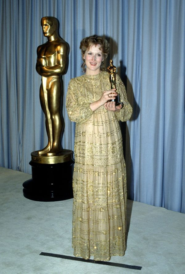 "At the Oscars in 1983, Streep won her first Best Actress statue for her role in ""Sophie's Choice."" For the ceremony, the star"