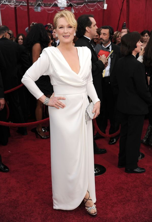 "This white gown Streep wore  the 2010 ceremony (when she was nominated for playing Julia Child in ""Julie and Julia"") is"