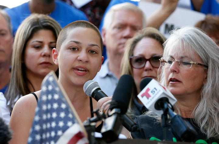 Emma Gonzalez, 18, speaks at a rally for gun control in Fort Lauderdale, Florida, three days after 17 people were killed at h