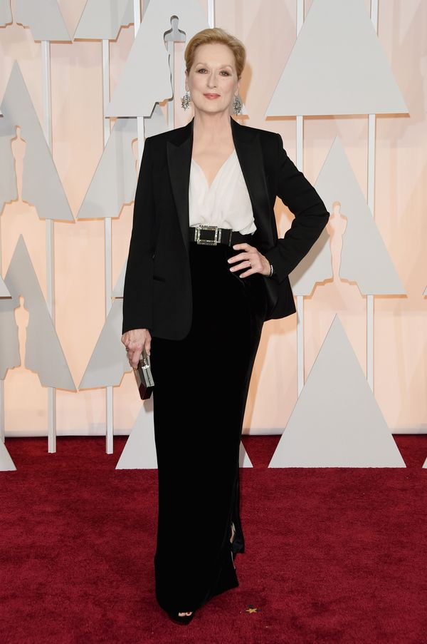 For the 87th Academy Awards ceremony, Streep went for a sophisticated suit, which looked every bit as glamorous as the rest o