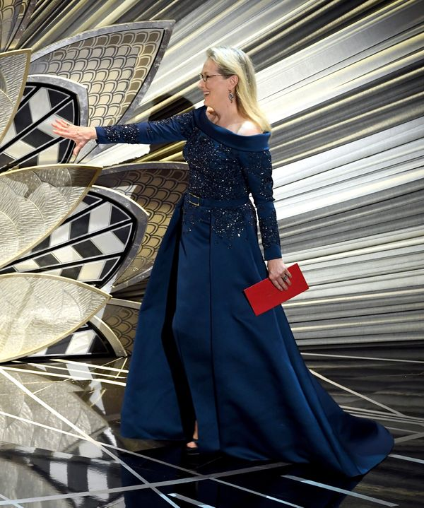The actress wore this striking dark blue gown for the 89th Academy Awards ceremony, where she was nominated for her role in ""