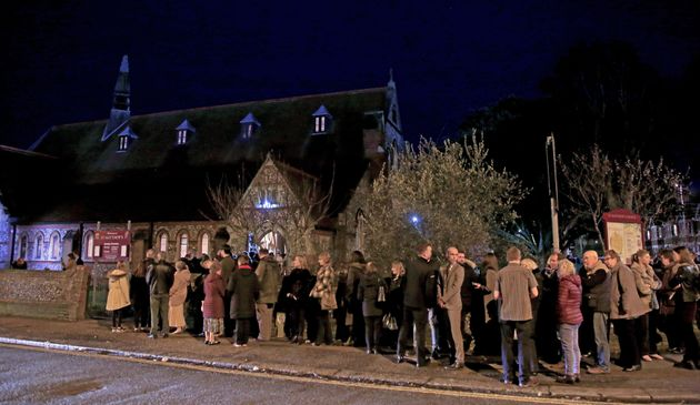 Mourners gather at St. Matthews Church in Worthing, West Sussex, for a memorial service for Stuart and...