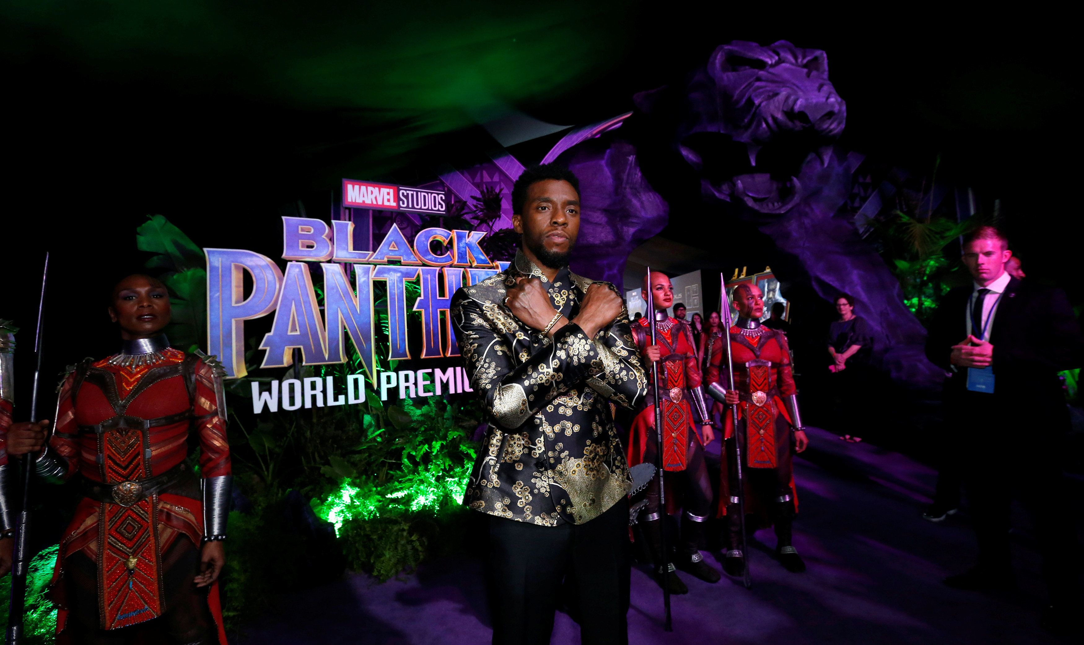 "Cast member Chadwick Boseman poses at the premiere of ""Black Panther"" in Los Angeles, California, U.S., January 29, 2018. REUTERS/Mario Anzuoni"
