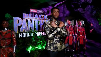 """Cast member Chadwick Boseman poses at the premiere of """"Black Panther"""" in Los Angeles, California, U.S., January 29, 2018. REUTERS/Mario Anzuoni"""